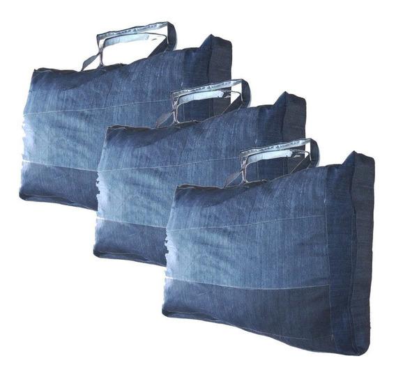 Kit 3 Sacolões Em Retalhos De Jeans Reforçado 120 Litros