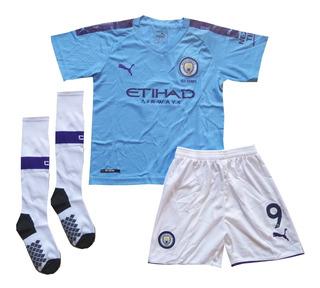 Kit Infantil Manchester City Home 2019/2020 - Pronta Entrega