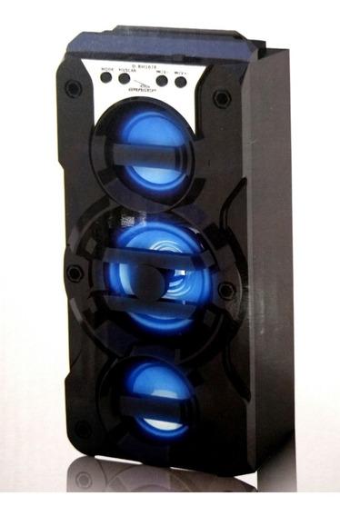 Caixa De Som Bluetooth 8w Rms Grasep Slot Usb Para Pen-drive E Cartão Fm Modelo 3 Auto-falantes Leds Coloridos