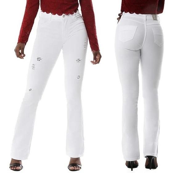 Calça Jeans Flare Sawary Destroyed Feminina Branca