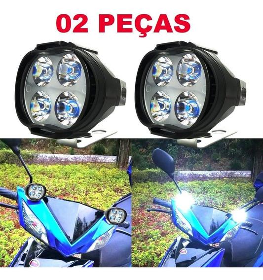 Farol Milha Neblina Led Moto 6500k Luz Branca
