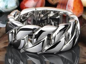 Bracelete Inox Grossa 31mm Cor Prata Aço Inoxidável Hip Hop