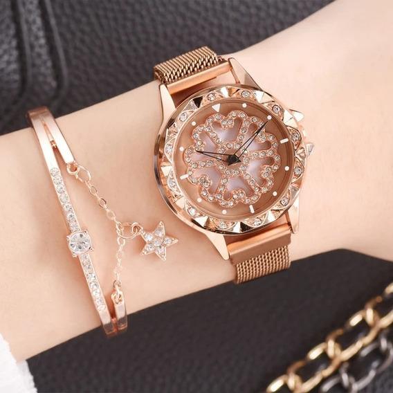 Reloj Giratorio Para Dama Broche Magnético Corte Diamante.
