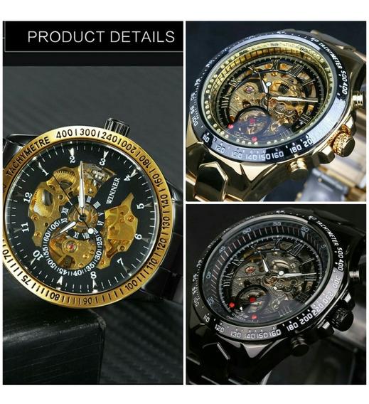 Relógio Masculino Esportivo Automático Dourado Promoção