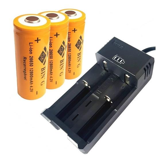 Carregador Duplo + 3 Bateria 26650 12800mah Lanterna T9 X900