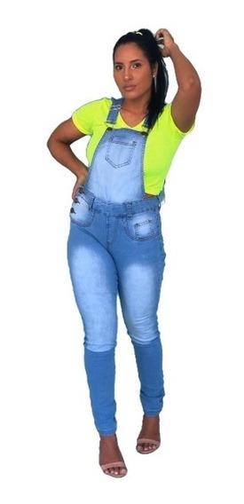 Macacão Calça Jardineira Jeans Com Lycra Destroyed