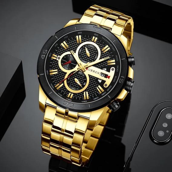 Relógio Curren 8336 Cronógrafo Aço Inoxidável Original