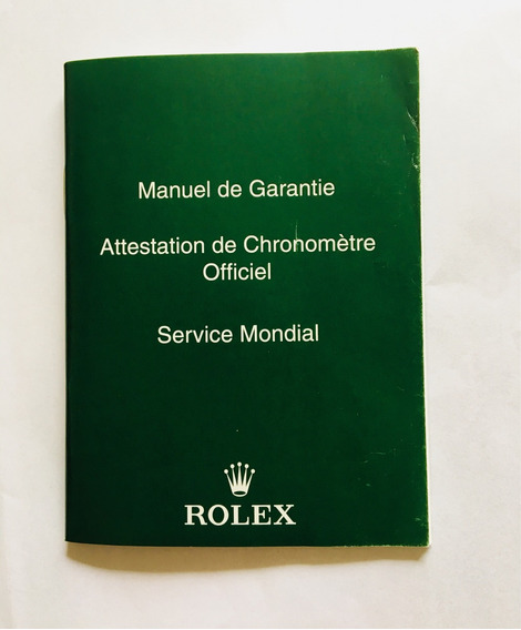 Manual De Garantia Rolex Original
