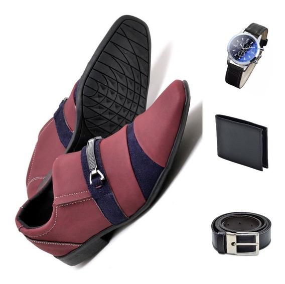 Kit Masculino Luxo Sapato Social+relógio+cinto+carteira 001
