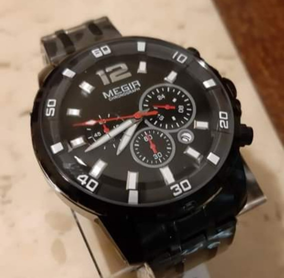 Relógio Megir M2068 Cronógrafo Envio Imediato 12x S/ Juros.