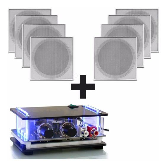 Amplificador Com 8 Caixa Música Som Ambiente Estéreo P/gesso