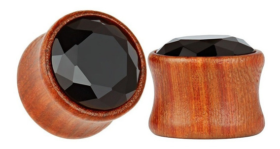Alargador Plug Madeira Pedra Zircônia 8, 10, 12, 14, 16mm - Par