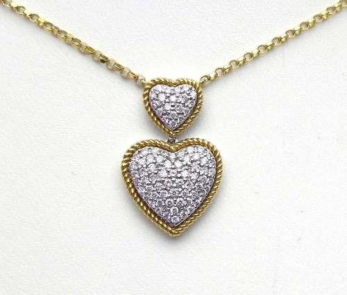 Corações De Diamantes E Corrente Deouro Amarelo E Branco18k