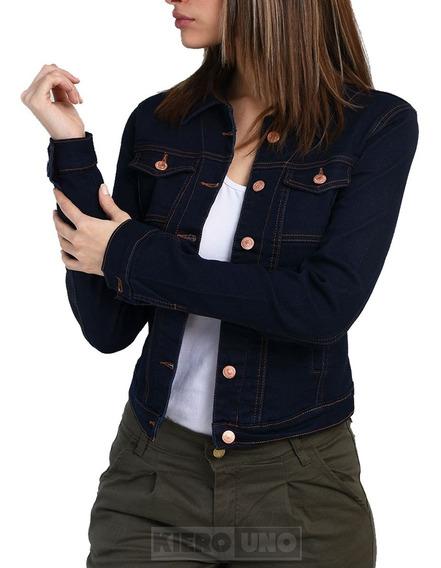Campera De Jeans Mujer Elastizada Entallada Dama Kierouno