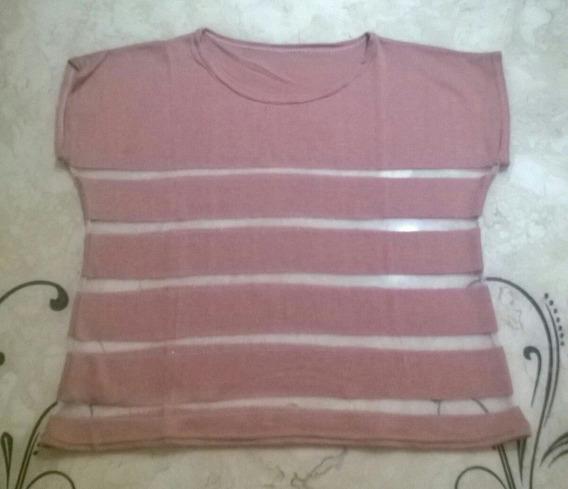 Camiseta/blusa Manga Curta De Linha Com Transparência - Nova