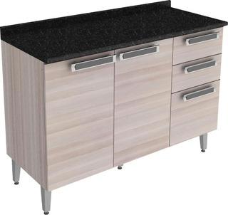 Gabinete Para Cozinha Com 2 Portas E 3 Gavetas - Itatiaia Jazz Ig3g2-120