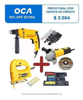 Kit Amoladora+taladro+ Sierra Caladora+309 Accesorios Goldex