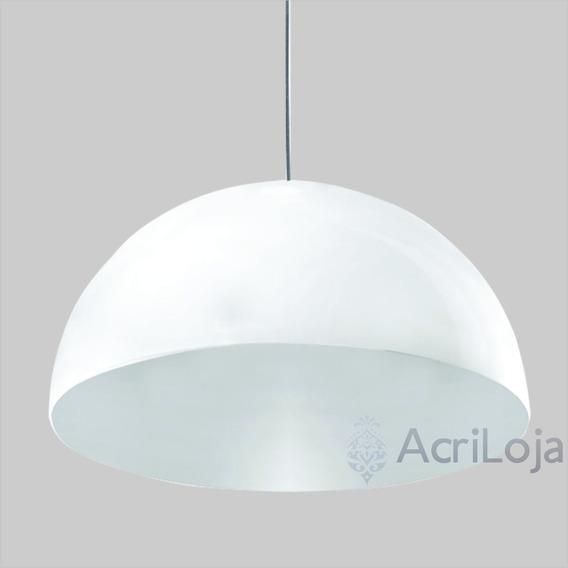 Luminária Lustre Pendente Loral Acrílico Cor Branco 55x27 Cm