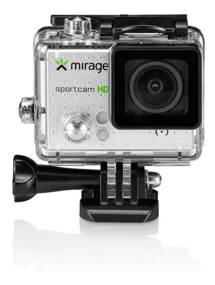 Câmera De Ação Sport Hd Mirage Tela De 2 5mp Prata