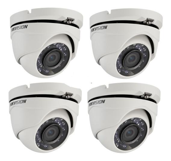 Pack 4 Camara Infrarroja Hikvision Cctv Turbo Hd 720p 1mp 4en1 Tvi Cvi Ahd Gran Angular Seguridad