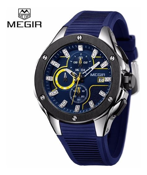 Relógio Masculino Social Azul 3d Frete Grátis Alta Qualidade