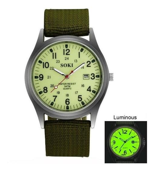 Soki Relógio De Pulso Exército Militar Calendário Quartzo