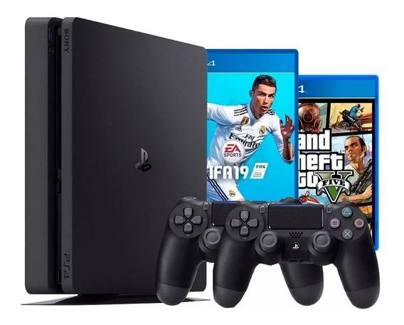 Playstation 4 Ps4 Slim 500 Gb 2 Controles + Fifa + Gta V