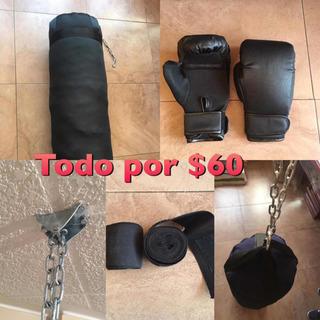 Saco De Boxeo 100cm+soporte De Techo+guantes+vendas Box Mma