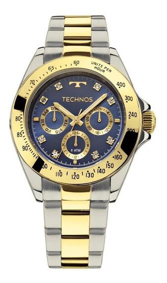 Relógio Technos Dourado E Prateado Feminino 6p29aiv/5a