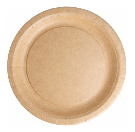 Plato Postre Polipapel Kraft Eco Color Madera 18,7 Cm X10.
