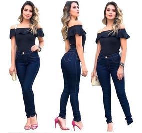 Calça Jeans Feminina Cintura Alta Premium Lycra + Cores