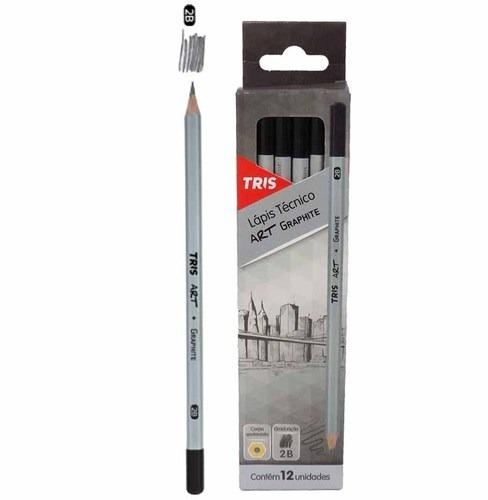 Lápis Preto Técnico Tris Art Graphite - 2b - Caixa Com 12