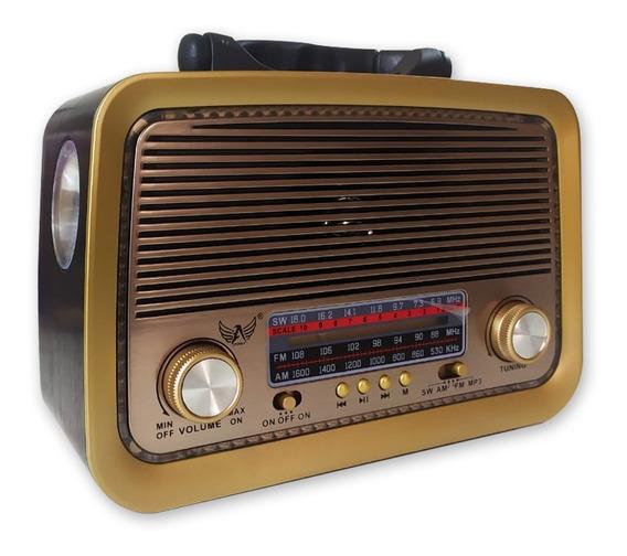 Caixa De Som Rádio Classico Am Fm Sw Usb Lanterna Aux Led 3