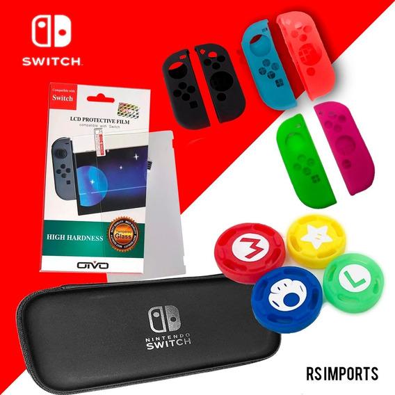 Case Switch + Película Vidro + 4 Grips + Par Silicone Joycon