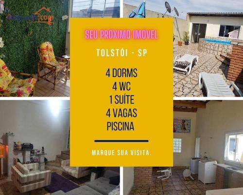 Sobrado, 4 Dorms, Piscina, À Venda, Vila Tolstoi, 300 M² Por R$ 440.000,00 - So1557