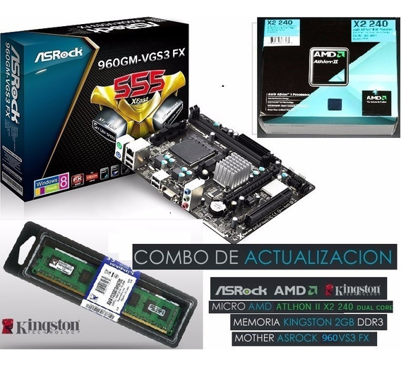 Combo Amd Phenom 3.4ghz + 4gb Ddr3 + Tm. Asrock N68 New