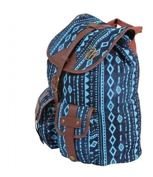 Mochila Capricho Etnic Blue G 2 Bolsos 48909