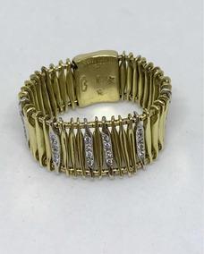 Glitter Joias - Anel Grife Ouro Amarelo Com Diamantes