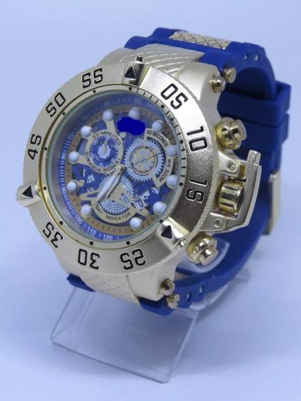 Relógio Top Azul Sub Dourado Gold Aço Masculino+ Caixa Aqua