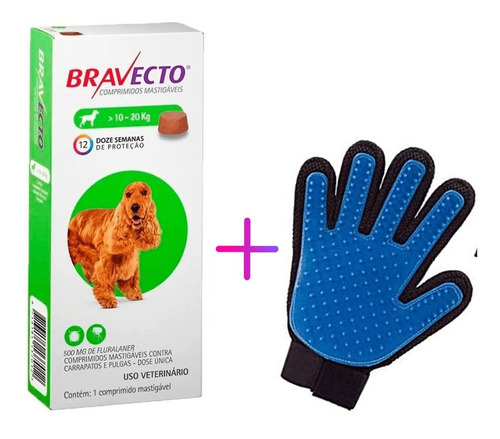 Kit Bravecto Antipulgas Para Cachorro De 10 A 20 Kg Com Luva