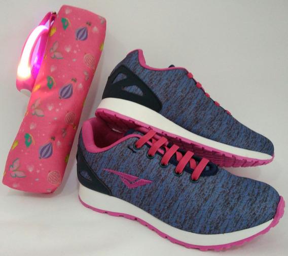 Tênis Bouts Pink E Marinho Cadarço Em Elastico Com Brinde