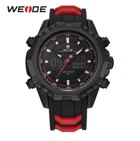Relógio Weide Vermelho Masculino Analogico Aço Inoxidável !!