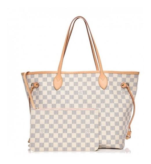 Neverfull Mm Damier Azur Couro Legítimo Louis Vuitton Premium Top C/ Código Série Acompanha Pochete E Dust Bag 24 Hr