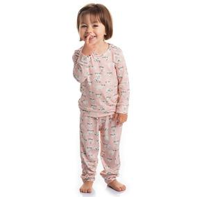 7 Pijama Estampado Com Manga Feminina Infantil Roupa Dormir