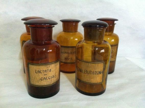 Frascos De Farmacia Antiguos Ámbar, Vintage Varios Medidas