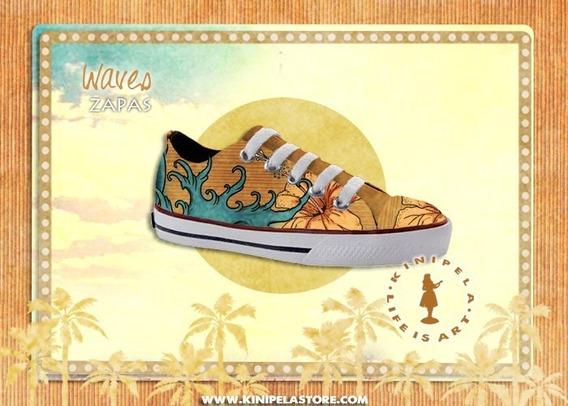 Zapatillas Urbanas Estampadas Ukelele Musica Hawaii Diseño