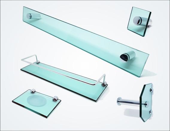 Kit De Acessórios P/ Banheiro 5 Pçs Em Vidro Verde C604