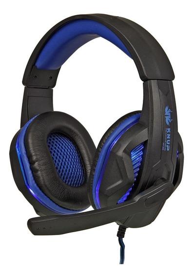 Fone de ouvido gamer Knup KP-396 preto y azul