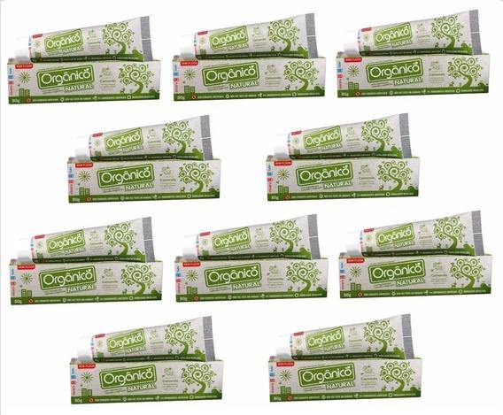 10 Pasta De Dente Orgânico Natural Vegano S Fluor 80g