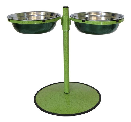 Imagem 1 de 3 de Comedouro Grande Duplo Inox Altura Regulável Gastrobel Verde
